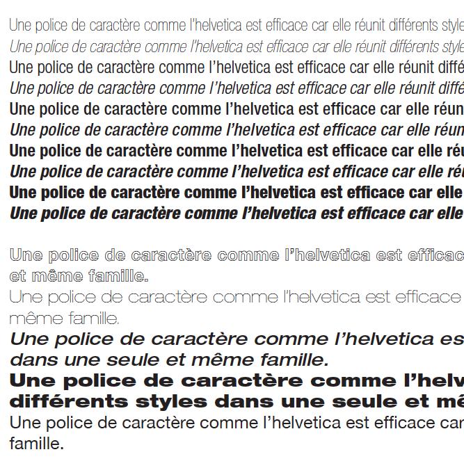 police de caractère helvetica